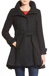 Steve Madden Women's Steven Madden Asymmetrical Zip Skirted Coat Black