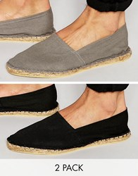 Asos Canvas Espadrilles In Black And Grey 2 Pack Save Multi