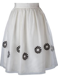 Jupe By Jackie Floral Applique Skirt White