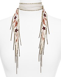 Chan Luu Star Floral Embroidered Skinny Scarf Red Pear Mix