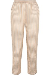 Mes Demoiselles Comic Cropped Metallic Striped Chiffon Straight Leg Pants Ecru