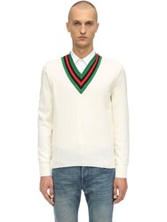 Gucci Web V Neck Wool Knit Sweater Off White
