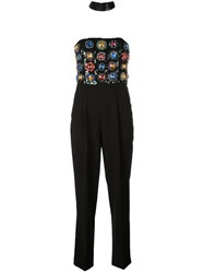 Alice Olivia Embellished Strapless Jumpsuit Black