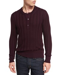 Tom Ford Cashmere Silk Ribbed Henley Sweater Wine
