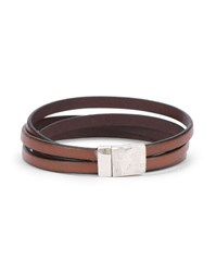 Gilbert Gilbert Camel Double Wrap Leather And Silver Bracelet