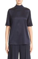 Lafayette 148 New York Women's Aina Knit Collar Charmeuse Blouse