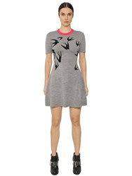 Mcq By Alexander Mcqueen Swallow Wool Jacquard Sweater Dress