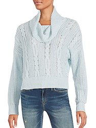 Somedays Lovin Cropped Cable Knit Sweater Blue