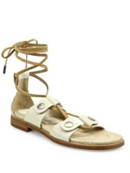 Rag And Bone Evelyn Leather Lace Up Sandals Ivory