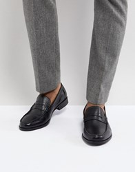 Ben Sherman Penny Loafers In Pebble Black Leather