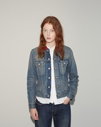 Junya Watanabe Check Collar Denim Jacket Indigo X Red