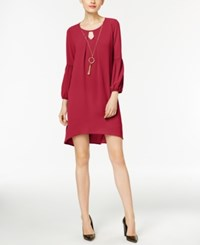 Ny Collection Petite High Low Keyhole Shift Dress With Necklace Scarlet Sage
