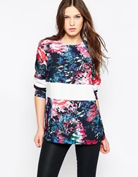 French Connection After Party Long Sleeve Crepe Tunic Black Multi
