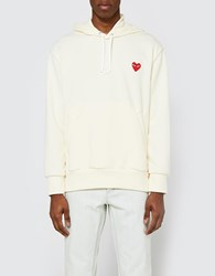 Comme Des Garcons Play Hooded Sweatshirt In Ivory