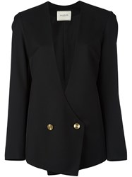 Lanvin Wrap Around Buttoned Blazer Black