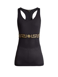 Versace Greek Key Mesh Performance Tank Top Black Gold
