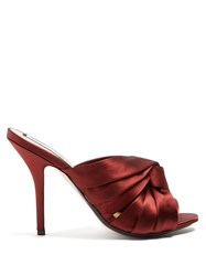N 21 Twisted Satin Open Toe Mules Burgundy