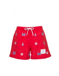 Thom Browne Embroidered Swim Shorts Red Multi