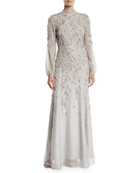 J. Mendel Long Sleeve Mock Neck Sequin Embroidered Evening Gown Silver