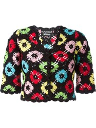 Boutique Moschino Crochet Cropped Cardigan Black
