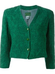 Kenzo Vintage Floral Embroidered Cropped Jacket Green