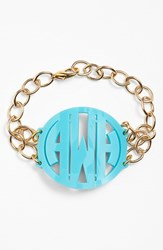 Women's Moon And Lola 'Annabel' Large Personalized Monogram Bracelet Robins Egg Gold