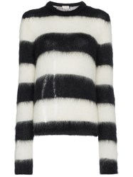 Saint Laurent Oversized Striped Mohair Wool Blend Knitted Sweater Black