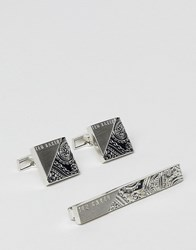 Ted Baker Charmer Paisley Cufflinks And Tie Bar Gift Set In Silver