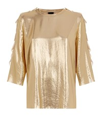 Pinko Ruffle Trim Top Female Gold