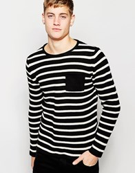 Pull And Bear Pullandbear Striped Jumper With Crew Neck In Cotton Black