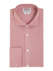 T.M.Lewin Stripe Slim Fit Long Sleeve Cutaway Collar Shirt Red
