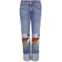 Christopher Kane Wide Leg Jeans With Floral Applique Blue