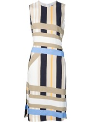 Msgm Striped Sleeveless Dress Nude And Neutrals