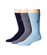 Polo Ralph Lauren 3 Pack Supersoft Flat Knit With Player Embroidery Sky Blue Men's Crew Cut Socks Shoes