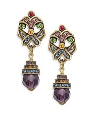 Heidi Daus Xo Crystal And Rhinestone Drop Earrings Amethyst
