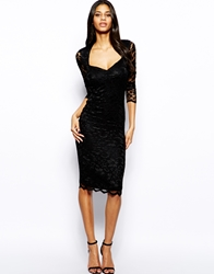 John Zack Lace Midi Dress With Sweetheart Neckline
