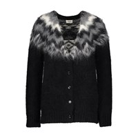 Celine Fair Isle Alpaca Cardigan Black Grey