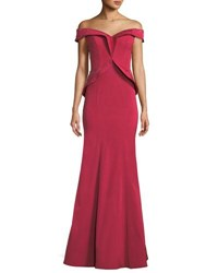 Rene Ruiz Off The Shoulder Framed Peplum Gown Dark Red