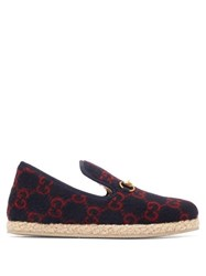 Gucci Fria Gg Felt Espadrille Slippers Navy