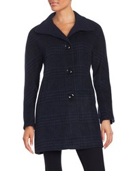 Ellen Tracy Plaid Wool Blend Jacket Black Navy Blue