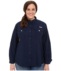 Columbia Plus Size Bahama Long Sleeve Collegiate Navy Women's Long Sleeve Button Up