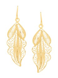 Wouters And Hendrix Filigree Leaf Earrings Metallic