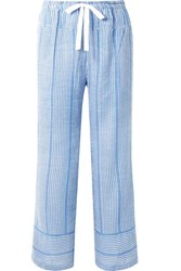 Lemlem Zinab Metallic Striped Cotton Blend Voile Pants Light Blue