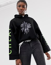 Cheap Monday Roses Are Dread Cropped Hoodie With Organic Cotton Black