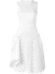 Simone Rocha Scalloped Brocade Dress White