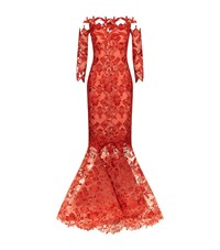 Mikael D Lace Off The Shoulder Fishtail Gown Female Red