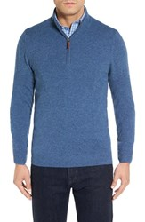 Nordstrom Men's Big And Tall Cashmere Quarter Zip Sweater Blue Vintage