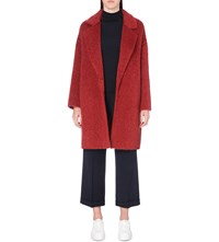 Max Mara Cocoon Mohair And Wool Blend Coat Red