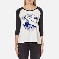 Maison Scotch Women's 3 4 Sleeve A Line T Shirt With Artwork Combo C White
