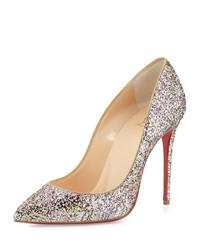 Christian Louboutin Pigalle Follies Glitter Red Sole Pump Rosette Gold